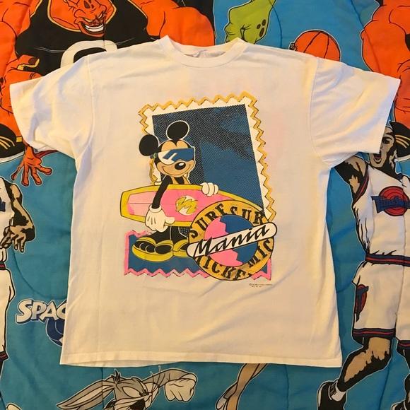 1a1acf298 Disney Shirts | Vintage Mickey Mouse Beach Shirt Surf Mania | Poshmark
